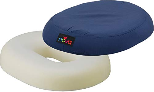 (NOVA Donut Pillow Seat Cushion with High Density Molded Foam, Travel Ring Cushion, Removable & Washable Cover )