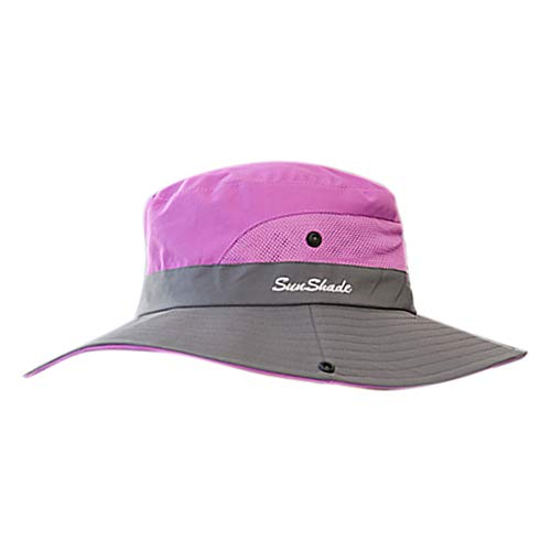 Ribbon Safari Hat - lightclub Women Summer UV Protection Wide Brim Sun Cap Outdoor Beach Climbing Boonie Hat Bucket Hat Purple