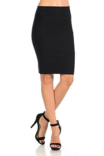 Auliné Collection Women's High Waisted Ribbon Slit Bodycon Pencil Skirt Black (High Waisted Black Pencil Skirt)