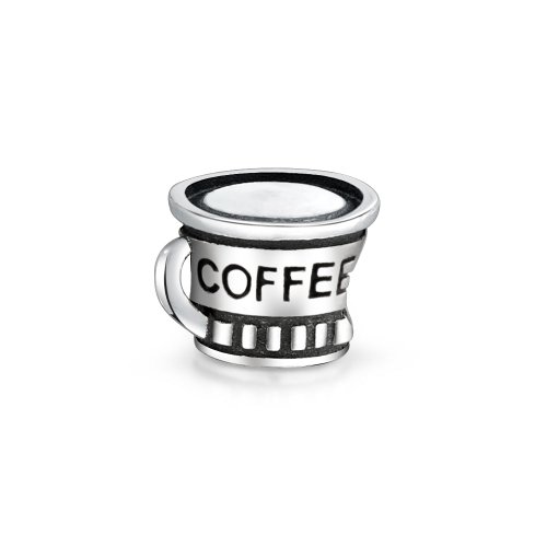 Coffee Cup Charm Bead .925 Sterling Silver