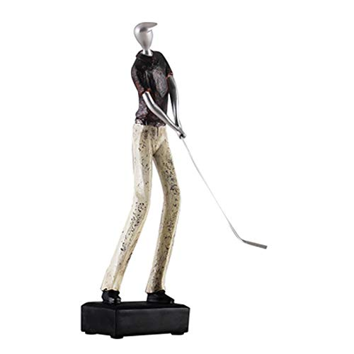 Home Decoration, Hand-Painted Resin Crafts Golfer Ornaments Sculpture Living Room Decorations Nordic Decorative Wine Cabinet Home (Color : C)