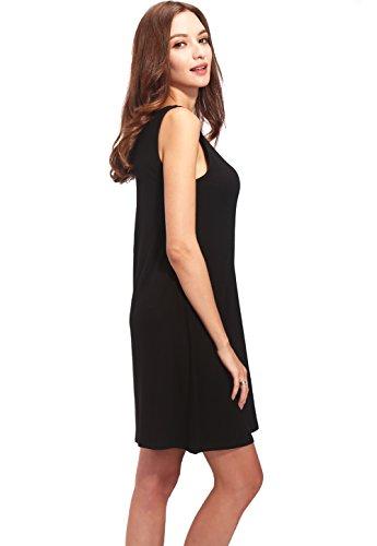 Vislivin Nightgown Sleepwear Women's Casual Wear Faux Button Placket Modal Dress Black