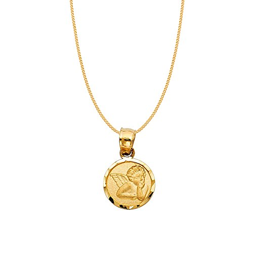 14k Yellow Gold Cherubic Guardian Angel Pendant with 0.8-mm Yellow Gold Square Wheat Chain by Precious Stars