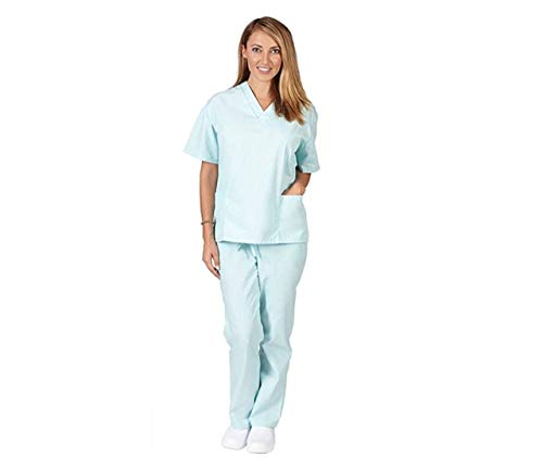 (Women's Scrub Set - Medical Scrub Top and Pant, Aqua, XXXX-Large)
