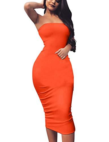 BORIFLORS Women's Basic Sleeveless Tube Top Sexy Strapless Bodycon Midi Club Dress,Large,Orange-red ()