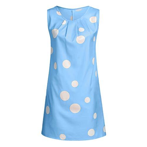 Pengy Women's Dress Casual Boho Print Sleeveless Dress Hem Pleated Dress Cotton and Lien Dress for Lady Blue (Ed Hardy Mens Swimwear)