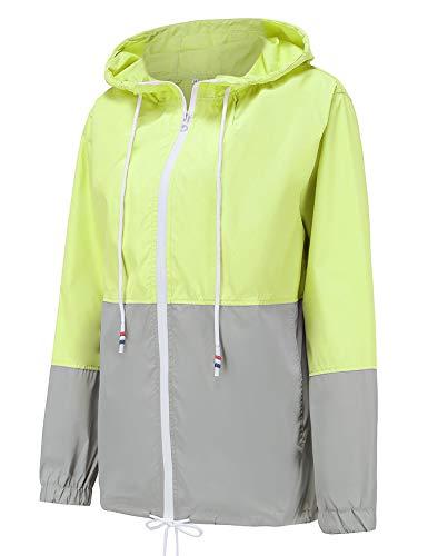 LOMON Women Raincoats Waterproof Lightweight Rain Jacket Active Outdoor Hooded Trench Coats Windbreaker Jacket Green M ()