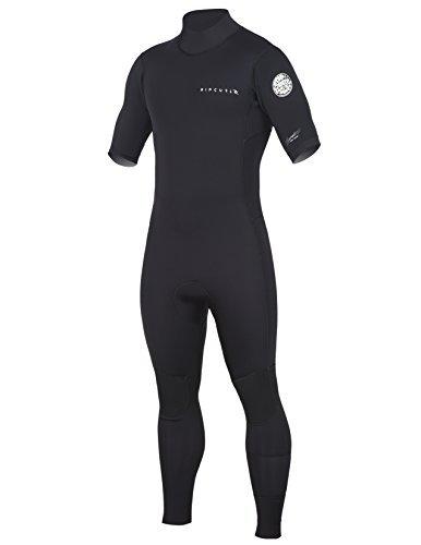 Rip Curl Aggrolite Short Sleeve Glued & Back Zip Steamer, Black/Black, Large/Small