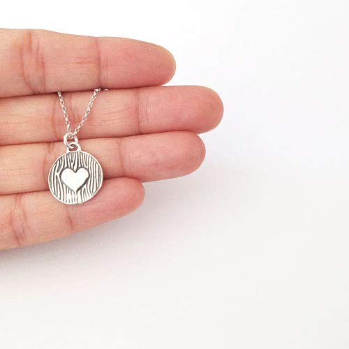 Sterling Silver Oxidized Heart Small Disc Pendant Necklace