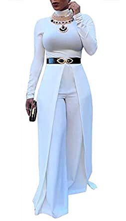 Womens Wide Leg Jumpsuits Romper Long Sleeve High Waisted Flare Palazzo Pants Suit White M