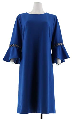 Dennis Basso Luxe Crepe Dress Trimmed Flounce SLVS Lapis Blue 14 New A307212 from Dennis Basso
