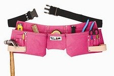 - Born Tough 4-PRW 9-pocket Suede Leather Women's Pink Tool Belt / Tool Apron