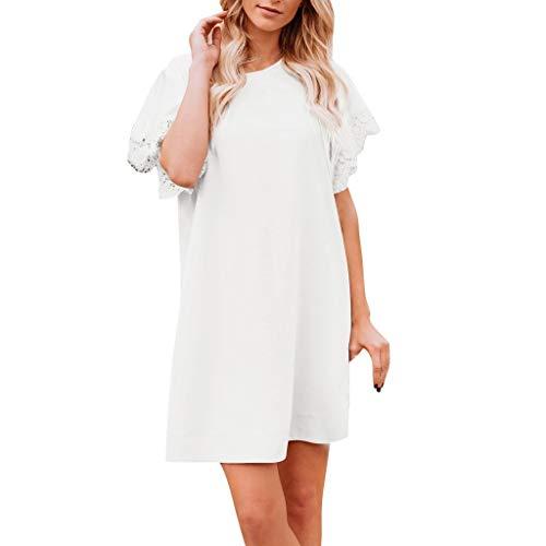 Nihewoo Womens Lace Patchwork Summer Dress Scoop Neck T-Shirt Midi Tank Dress Sundress Swing T-Shirt Dresses Beach Sundress White