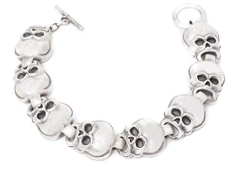 (PTC Skeleton Skull Chain Links Toggle Closure Bracelet, Silver Color)