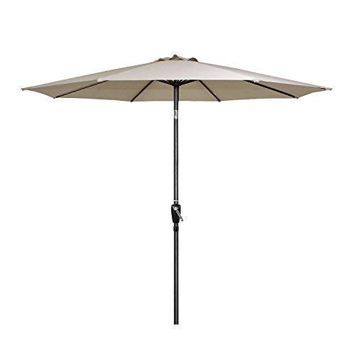 G-House 9 Ft Garden Patio Umbrella Outdoor Table Umbrella with Push Button Tilt and Crank, Sturdy Steel, 8 Ribs (Beige) -