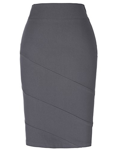 Kate Kasin Elastic Vintage Cotton Gray Retro Wear to Work Pencil Skirt M KK269-2 ()
