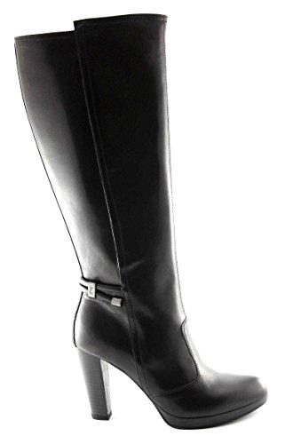 BLACK JARDINS 615956 bottes noires femmes, talon en cuir cordes zip Nero