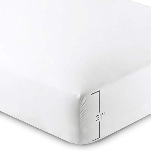 Bare Home Fitted Bottom Sheet - Premium 1800 Ultra-Soft Wrinkle Resistant Microfiber, Hypoallergenic, Extra Deep Pocket (Queen - 21