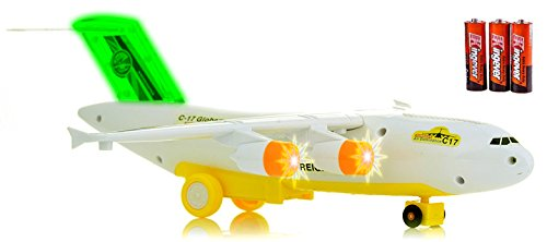Toysery C-17 Transport Airplane Toys with LED Flashing Lights and Sounds, Bump and Go Action Plane Toy For Kids Boys and Girls (Battery - List Airport Australia