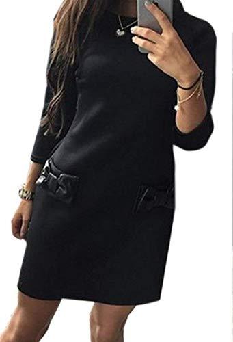 Haokan Vestido Midi de Bolsillo con Cuello Redondo y Manga Larga con Cuello Redondo para Mujer (Color : Negro, tamaño : X-Small)