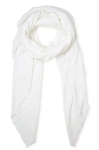 Striped Scarf Long (Off-white Pure Color Fashion Women Scarf Warm Winter Shawl Big Scarves by corciova)