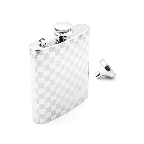 Flask Design Hip (iSavage 8oz Hip Flask with Mat Engraved Design with a Funnel 18/8 Stainless Steel-YM129)