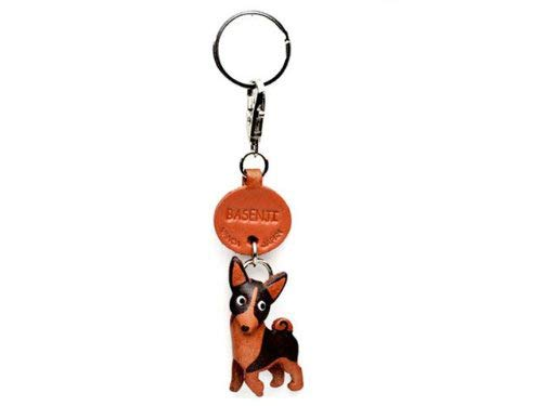 Basenji Leather Dog Small Keychain VANCA CRAFT-Collectible Keyring Charm Pendant Made in Japan