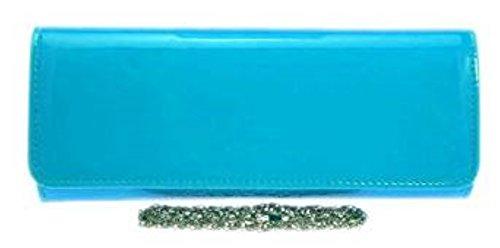 Blue Women Leather Designer Bag Patent Colors Evening Clutch HandBags Faux Retro Elegant Girly Fashion OxwZFqHAHg