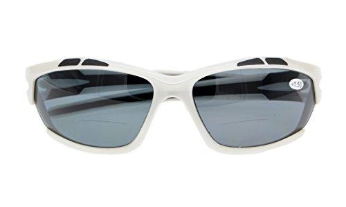 (Unisex Sports Bifocal Sunglasses Wraparound Designer Style readingglasses(white/grey+2.50))