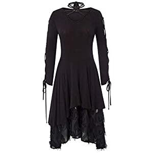 Women Gothic Dress Steampunk Victorian Lace Tie Neck Witch Quirky Dresses
