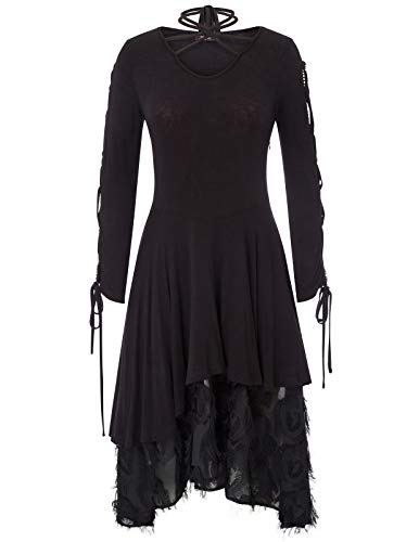 Women Vintage Steampunk Gothic Victorian Lace Tie Neck Dress