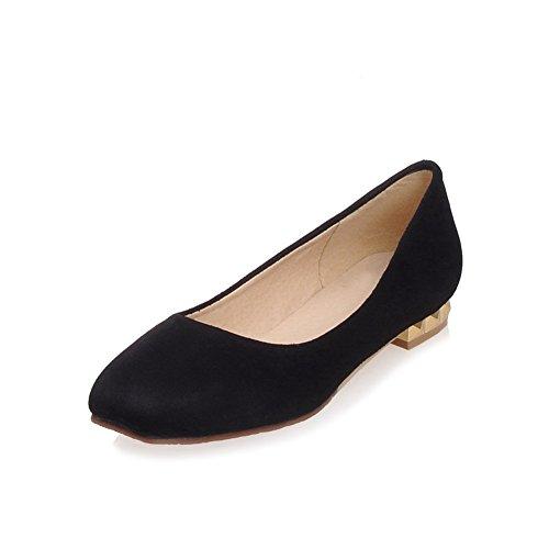 AllhqFashion Damen Rein Niedriger Absatz Ziehen auf Quadratisch Zehe Pumps Schuhe Schwarz