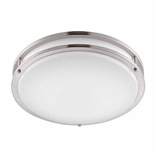 Hampton Bay 16 in. Brushed Nickel LED Round Flush (Hampton Bay Fixtures)