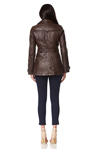'Mesdames Leather BROWN longueur Classique mi Nappa 1123 Designer Jacket TRENCH Coat Real TqdWBwOTc