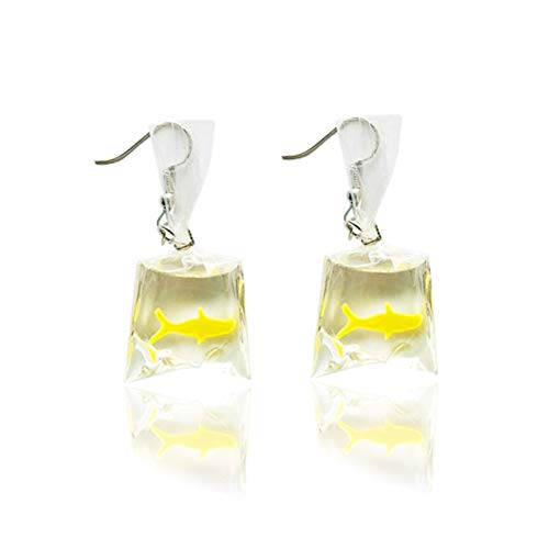 COLORFUL BLING Fashion acrylic Gold fish Crystal pocket drop whimsy Exaggerated goldfish earrings for girls-yellow