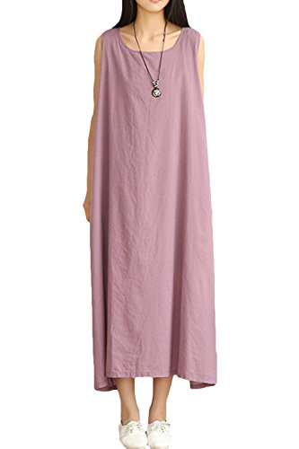 AsherFashion Women Solid Loose Linen Sleeveless Pullover A-Line Long Maxi Dress Purple, One - Pullover Long Linen