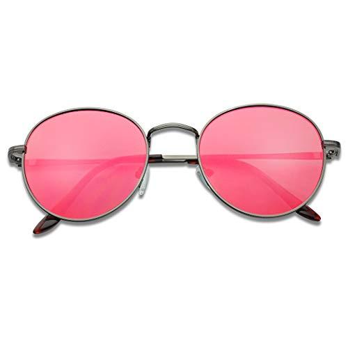 SunglassUP - Large Slim Metal Round Flat Color Mirrored Lens Sun Glasses Vintage (Gun Metal, Ruby Red Lens)