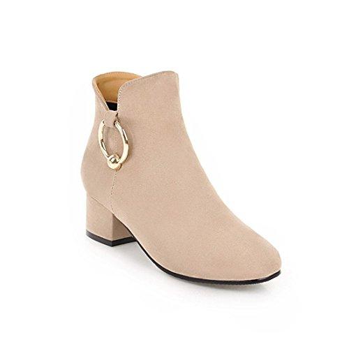 Sandalette-DEDE Cómodo en Invierno y otoño, con Botas y Botas de Mujer. Beige