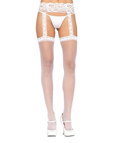 Leg Avenue Womens Sheer Lace Top Stockings with Attached Garter ()