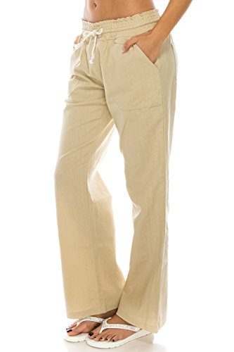 Poplooks Women's Beachside Soft Palazzo Style Linen Pants (Large, Natural)