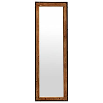 """Stone & Beam Wood and Iron Mirror, 42.25"""" H, Natural Wood and Black"""