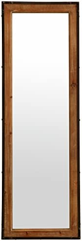 Amazon Brand Stone Beam Wood and Iron Hanging Wall Mirror