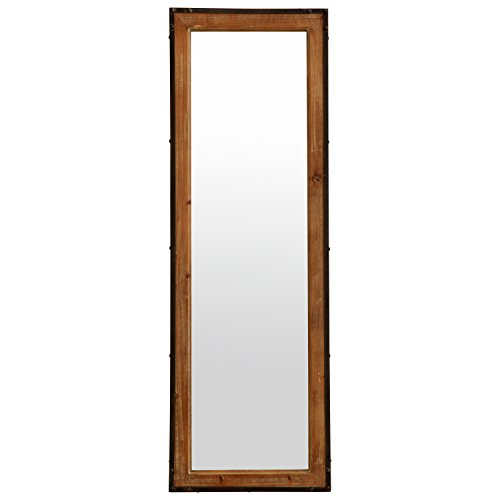 Stone & Beam Wood and Iron Hanging Wall Mirror, 42.25