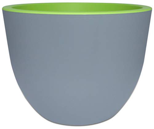- Form Plastic - Large Round Plastic Flower Pot - Gray & Green