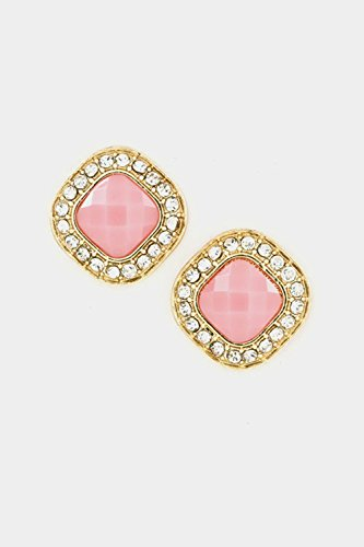 Earring Post Ayala (Karmas Canvas Faceted Square Stone with Crystal Framed Post Earring (Pink))