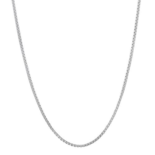 0.7mm Solid 925 Sterling Silver Box Chain Italian Crafted Necklace, 24