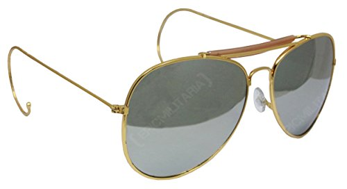US Pilot Style Aviator Sunglasses with Mirrored, Brown or Green - Pilot Sunglasses Fighter