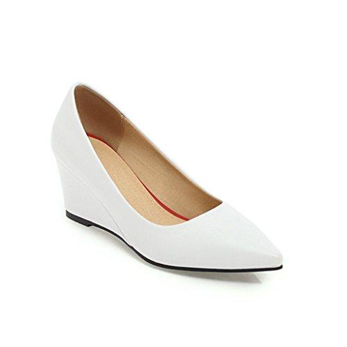 escarpins Printemps 6cm Mi-Talon Tête Pointue Bouche Peu Profonde Talon de Pente Chaussures pour Femmes Blanc PP29fZ