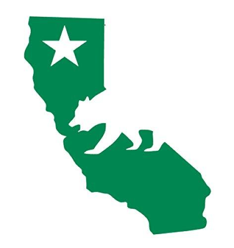 California Republic Cali State Map Cali Bear Vinyl Sticker Decals for Car Bumper Window MacBook Laptop [Green, 6