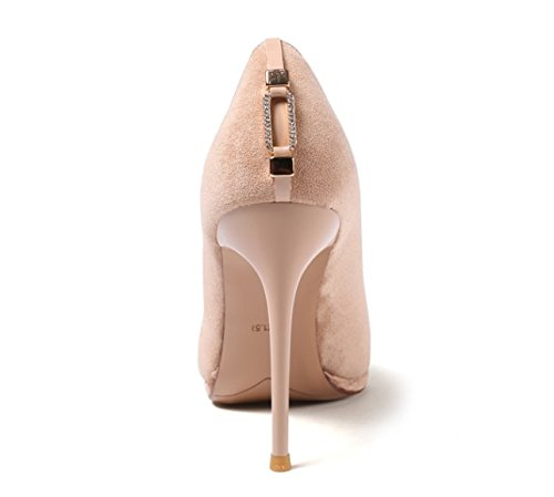 Fine Lady Fashion Elegant Simple 10 Suede Heels Tip Beige 34 Shoes High Leisure 5Cm Match With All MDRW Spring Shoes Work d80dn6